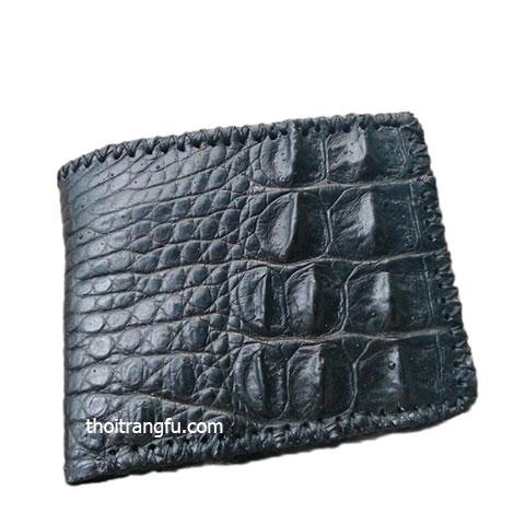 Ví da cá sấu gai lưng đan viền FVS208